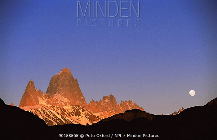 Fitzroy Massif peak at sunset with full moon, Andes, Patagonia, Argentina, South America  -  Pete Oxford/ npl