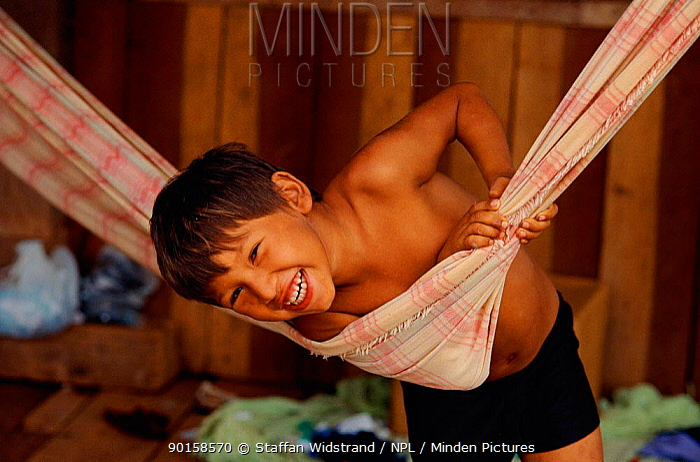Caboclo boy in hammock, Manaus, Amazonia, Brazil  -  Staffan Widstrand/ npl