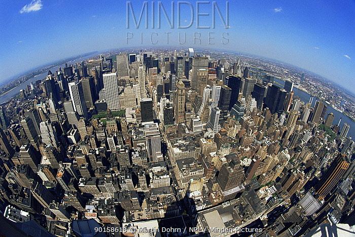 Fish-eye aerial view of Manhattan, New York City, USA  -  Martin Dohrn/ npl