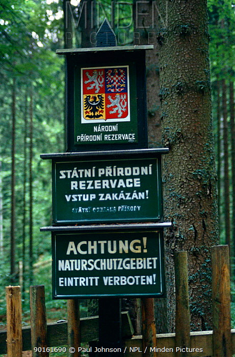Signs for State Nature Reserve, undisturbed forest, Czech Republic  -  Paul Johnson/ npl
