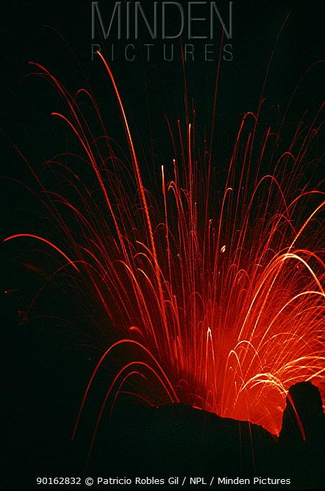 Yasur volcano erupting at night, Tanna Island, Vanuatu Island, South Pacific  -  Patricio Robles Gil/ npl