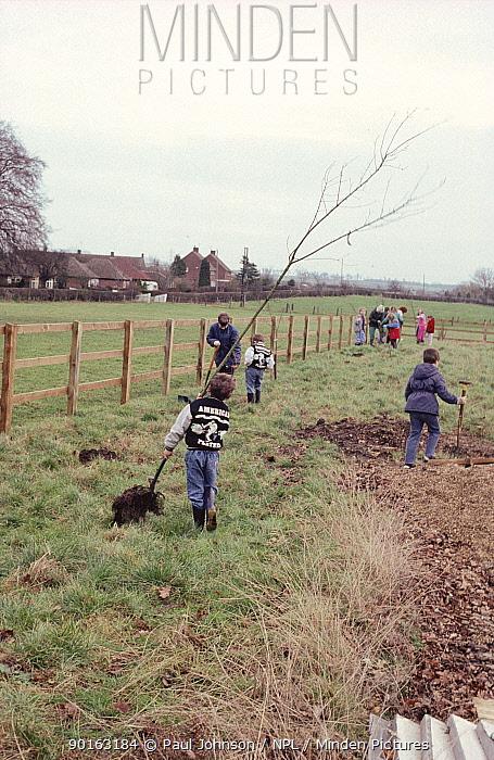 Children on parish tree planting day, Bedfordshire, UK  -  Paul Johnson/ npl