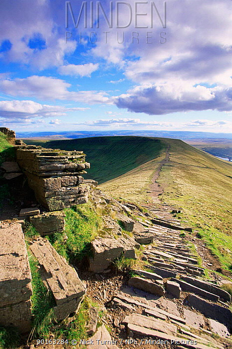 Man made path to prevent erosion, Brecon Beacons NP, Pen Y Fan, Powys, Wales, UK  -  Nick Turner/ npl