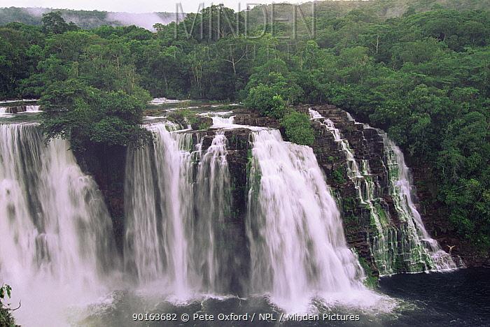 Ahfeld waterfall and diver, Noel Kempff Maercado National Park Bolivia  -  Pete Oxford/ npl