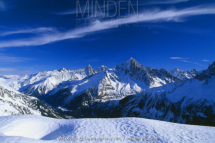 The Aiguille Verte from le Brevent, nr Chamonix, Massif du Mont Blanc, Savoie, France  -  David Noton/ npl