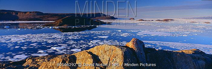 Pack ice on the move im Alexandra Fjord, Ellesmere Island, Nunavut, Arctic Canada  -  David Noton/ npl