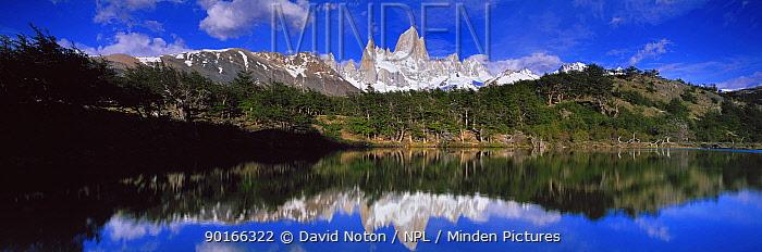 Mount Fitzroy reflected in Lago de los Pantos, Patagonia, Argentina  -  David Noton/ npl