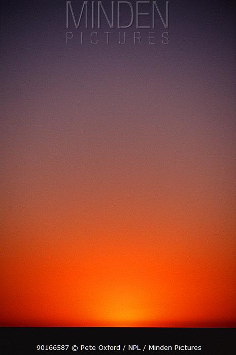 Sunset over Makgadikagadi salt pan, Botswana, Africa  -  Pete Oxford/ npl