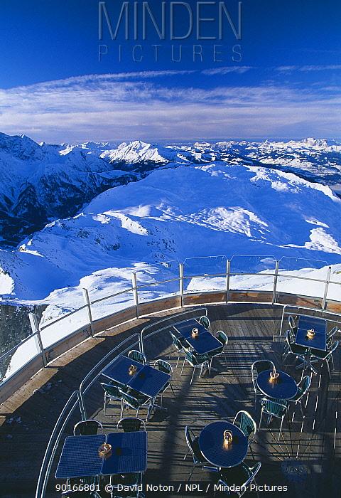 The cafe at le Brevent, nr Chamonix, Massif du Mont Blanc, Savoie, France  -  David Noton/ npl