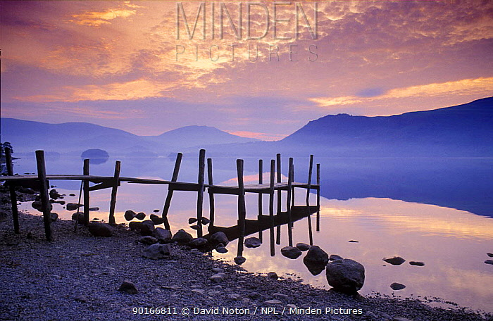 Landing Jetty on shore of Derwentwater at dawn, Lake District National Park, Cumbria, England, UK  -  David Noton/ npl