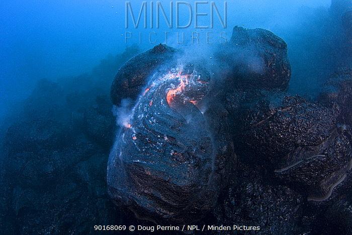 Hot molten pillow lava erupts from an underwater lava tube at ocean entry of Kilauea Volcano on Hawaii Island, Hawaii  -  Doug Perrine/ npl