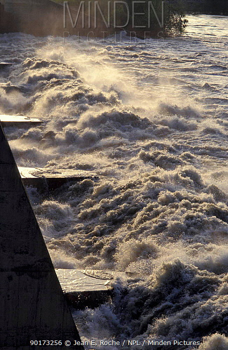 Water released from dam across Rhone river Villabregues Provence France  -  Jean E. Roche/ npl