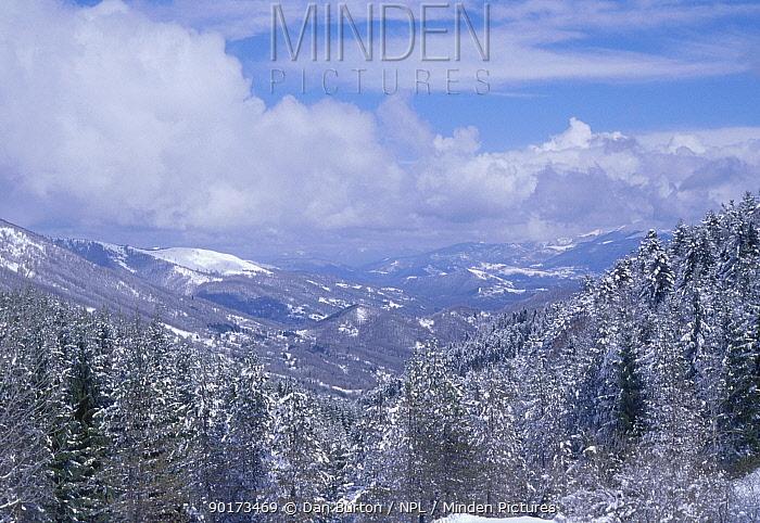 Pyrenean landscape in snow Foix Pyrenees France  -  Dan Burton/ npl