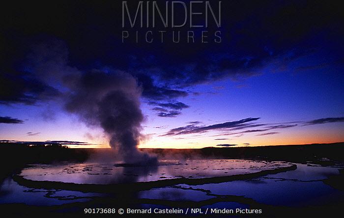 Great Fountain Geyser after sunset, Yellowstone National Park, Wyoming, USA  -  Bernard Castelein/ npl