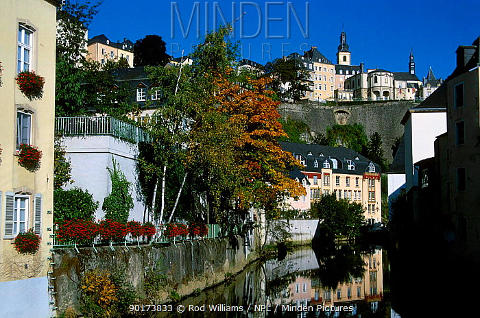 Old city and River Alzette Luxembourg Europe  -  Rod Williams/ npl