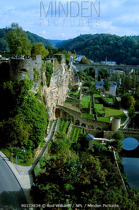 Terraced gardens and medieval fortifications beside river Luxembourg Europe  -  Rod Williams/ npl