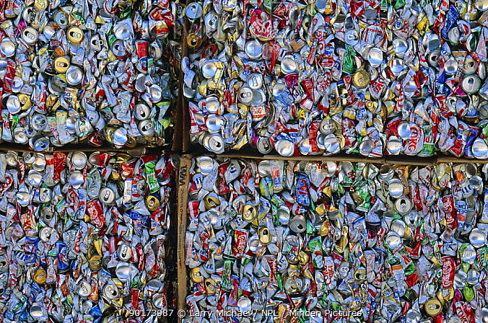 Aluminium cans for recycling, USA  -  Larry Michael/ npl