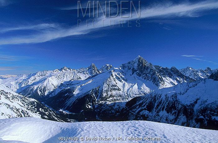 Mountain landscape with snow Aiguille Verte from Le Brevent Alps France  -  David Noton/ npl