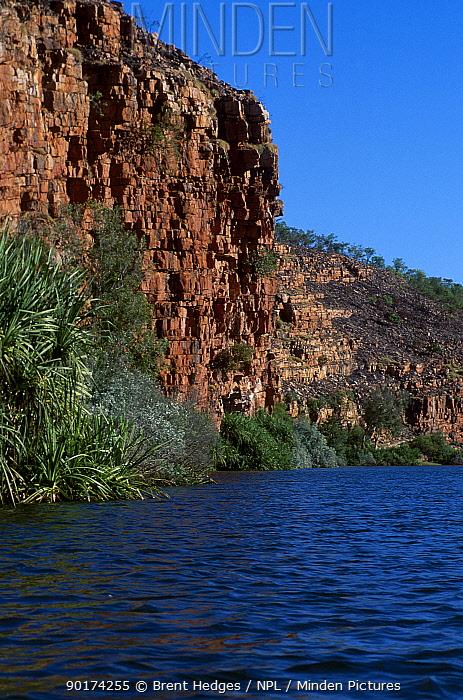 The Kimberleys landscape taken from river looking up at rock escarpments Western Australia  -  Brent Hedges/ npl