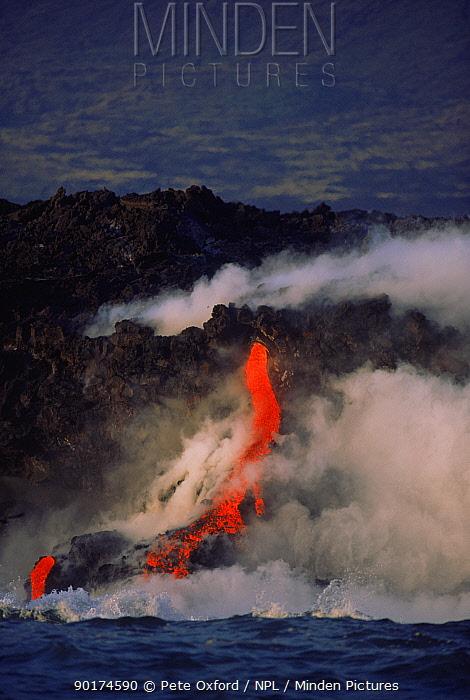 Lava flowing into sea, March 1995 Fernandina Island, Galapagos  -  Pete Oxford/ npl