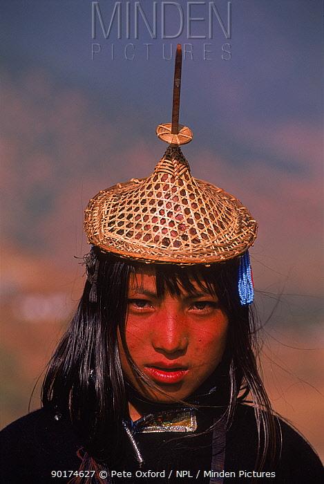 Laya woman from West Bhutan wearing head-dress Bhutan Population approximately 800  -  Pete Oxford/ npl