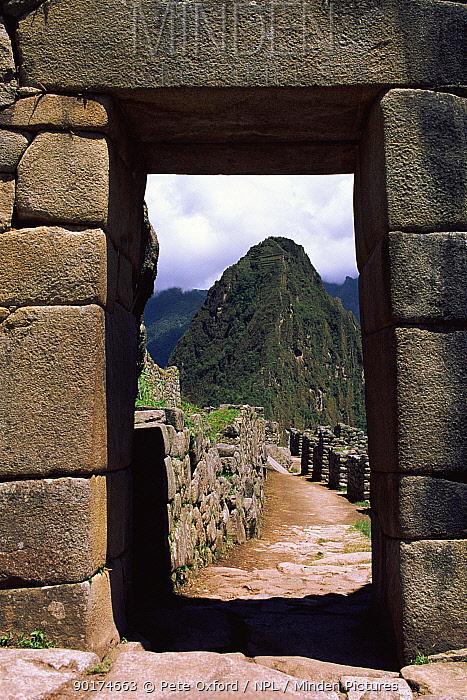 Huayana Picchu seen through stone arch Machu Picchu, Peru  -  Pete Oxford/ npl