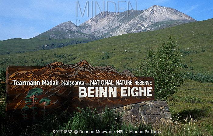 Beinn Eighe NNR sign Beinn Eighe, W Ross Scotland, UK  -  Duncan McEwan/ npl