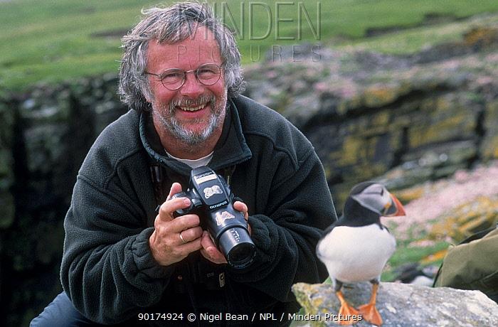 Bill Oddie on location for Birding With Bill Oddie Noss NNR Shetland  -  Nigel Bean/ npl