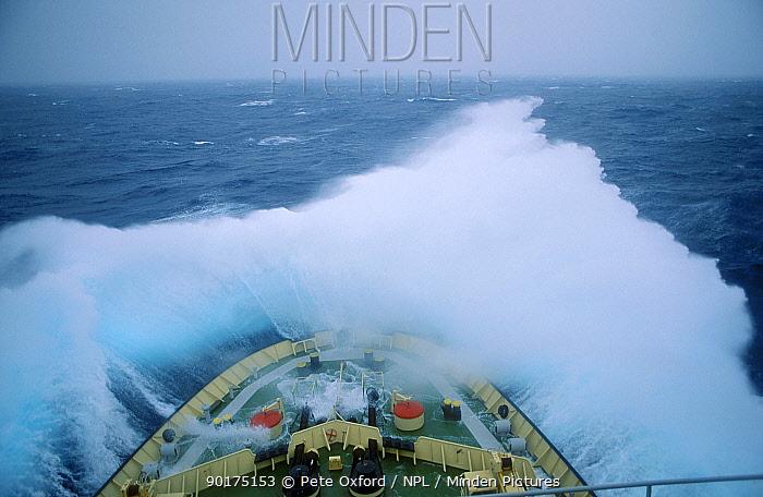 Waves break over bow in rough seas S Indian Ocean Kapitan Khlebnikov icebreaker  -  Pete Oxford/ npl