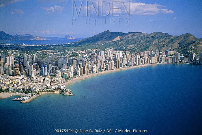 Benidorm town and beach, Spain, coastal development  -  Jose B. Ruiz/ npl