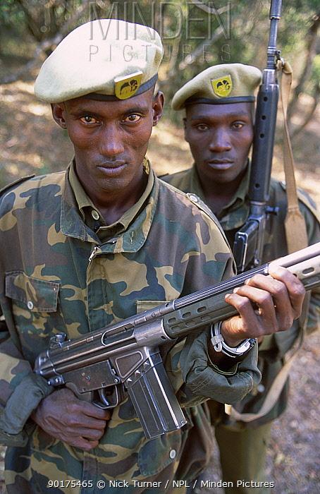 Armed members of the Mt Elgon Elephant Monitoring Team Mt Elgon NP Kenya 2002  -  Nick Turner/ npl