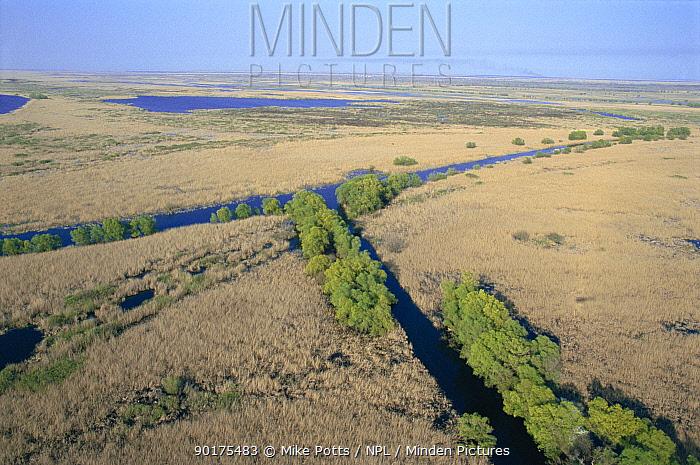 Aerial view of Danube Delta wetlands, Romania, Europe Summer  -  Mike Potts/ npl