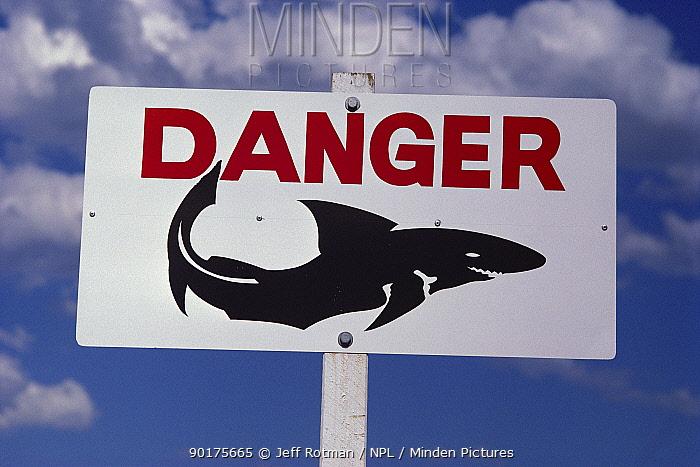 Shark warning sign on beach Sydney, Australia  -  Jeff Rotman/ npl