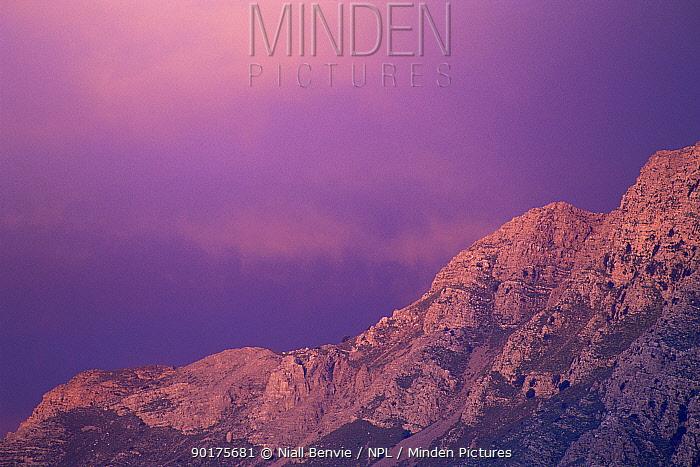 Sunset over Papoura mountains to east of Vassiliki, Crete April 1996  -  Niall Benvie/ npl
