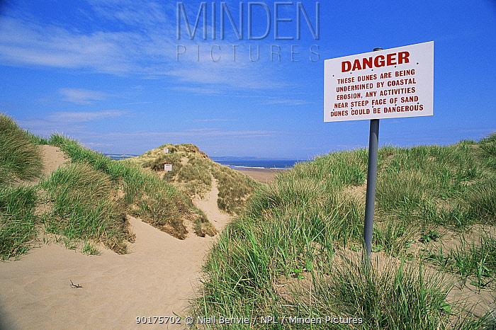 Sign warning of sand dune erosion danger, Montrose, Scotland  -  Niall Benvie/ npl