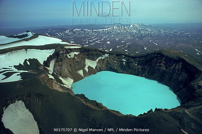 Blue sulphuric, hydochloric lake in volcano crater, Kamchatka, Russia  -  Nigel Marven/ npl