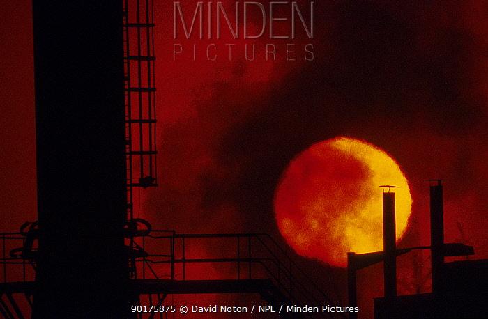 Belching smokestacks at sunset industry related pollution Avonmouth Docks Bristol UK  -  David Noton/ npl