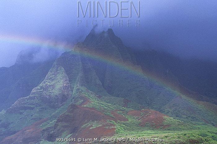 Rainbow over Napali coast, Kauai, Hawaii, USA  -  Lynn M. Stone/ npl