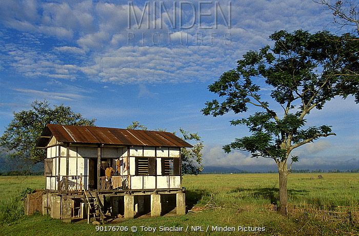 Guard post house built on stilts to avoid flooding Kaziranga NP Assam India  -  Toby Sinclair/ npl