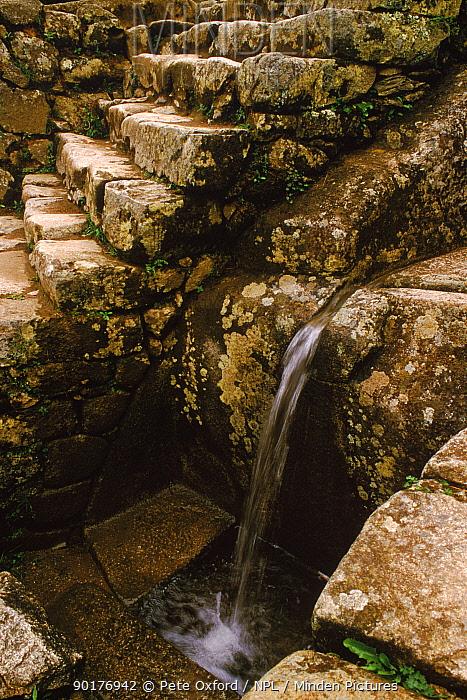Watersystem at Machu Picchu archaelogical site, Peru  -  Pete Oxford/ npl