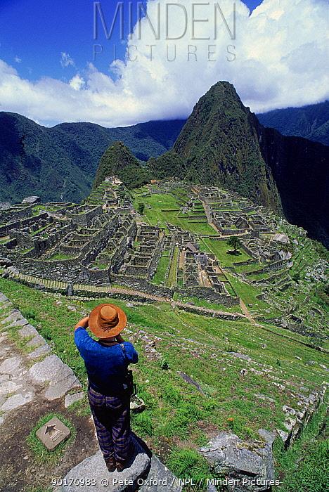 Machu Picchu (ancient Inca ruins) from the south with peak of Huayna Picchu in background Peru, South America  -  Pete Oxford/ npl