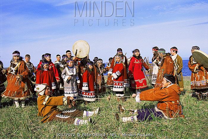 Native Koryak dancers, Ossora, Karaginsky, Kamchatka peninsula, Russia  -  Pete Oxford/ npl
