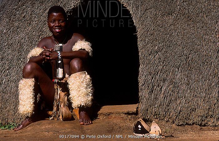 Zulu man outside hut Natal South Africa  -  Pete Oxford/ npl