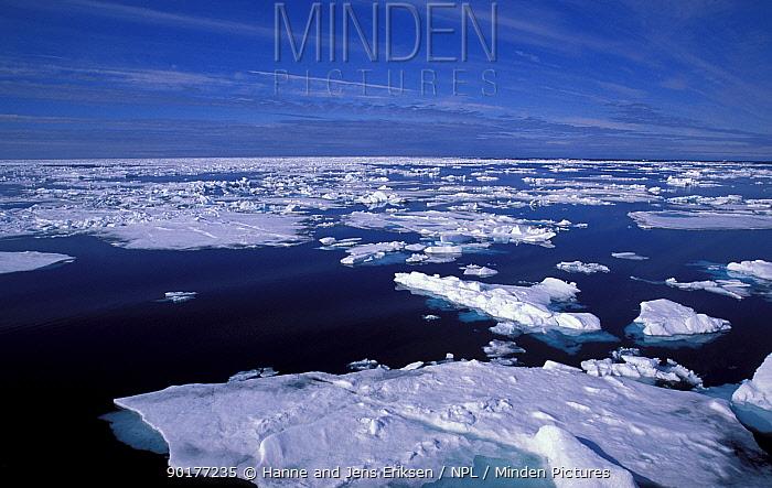Ice sea and sky nr Kong Karis Land Svalbard Norway  -  Hanne & Jens Eriksen/ npl