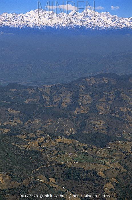 Kathmandu Valley with the Himalayas in distance, from Phulchoki, Nepal  -  Nick Garbutt/ npl