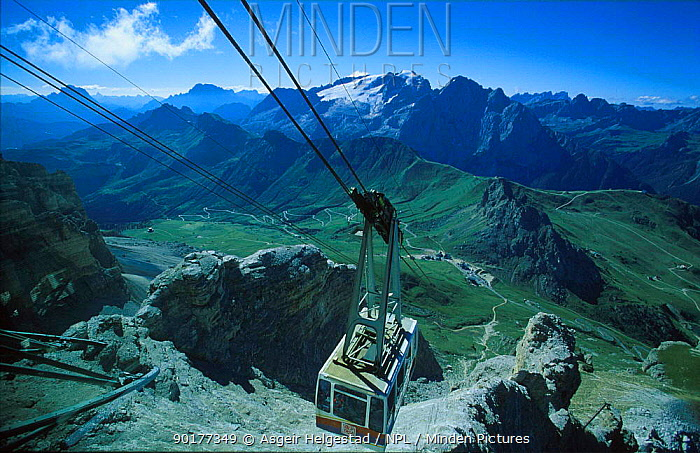 Cable-car to the top of Pordoi, Dolomites, Italy  -  Asgeir Helgestad/ npl