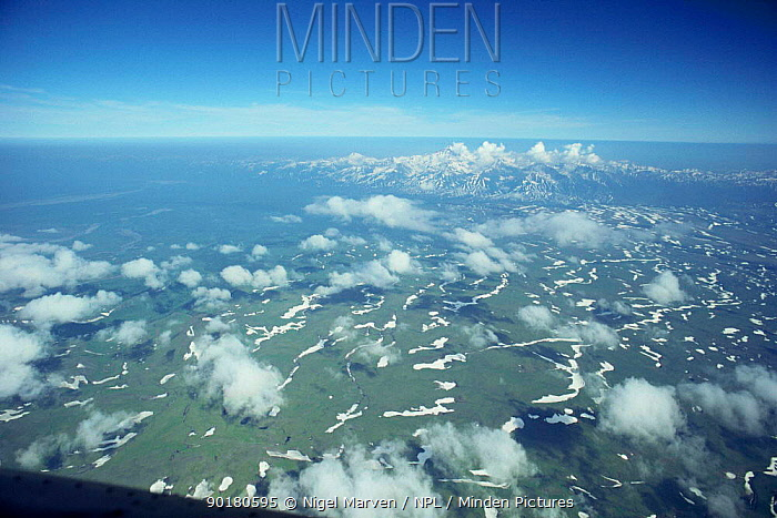 Aerial view over Kamchatka volcanic landscape, Russia  -  Nigel Marven/ npl