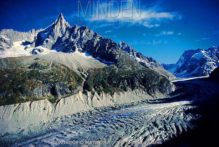 Mont Blanc and the Mer de Glace Glacier Chamonix, France, Europe  -  Martin Dohrn/ npl