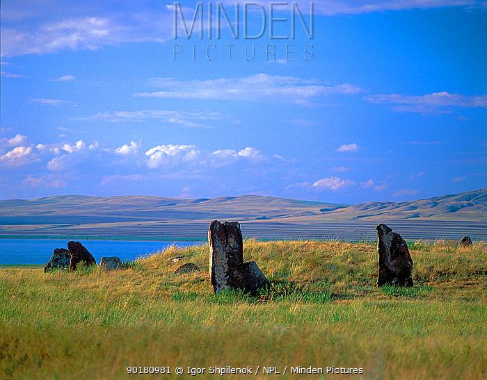 Ancient stones indicating burial grounds from the Karasouk civilization, Khakassky, Russia  -  Igor Shpilenok/ npl