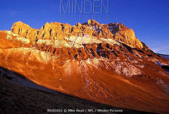 Cornettes de Bise in evening light Haute Savoie Alps Franc  -  Mike Read/ npl